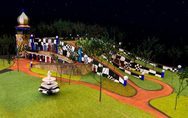 Model of the Hundertwasser Art Centre with Wairau Māori Art Gallery