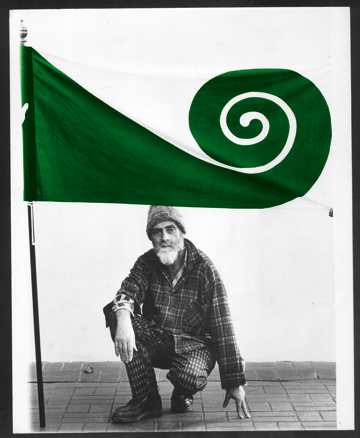 Hundertwasser with his Koru Flag